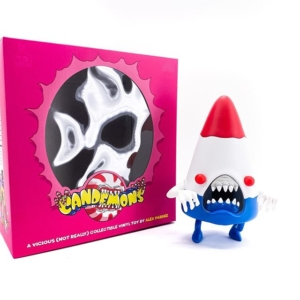 Candy Cornelius vinyl art toy. Red, White and Blue by Alex Pardee x 3DRetro.