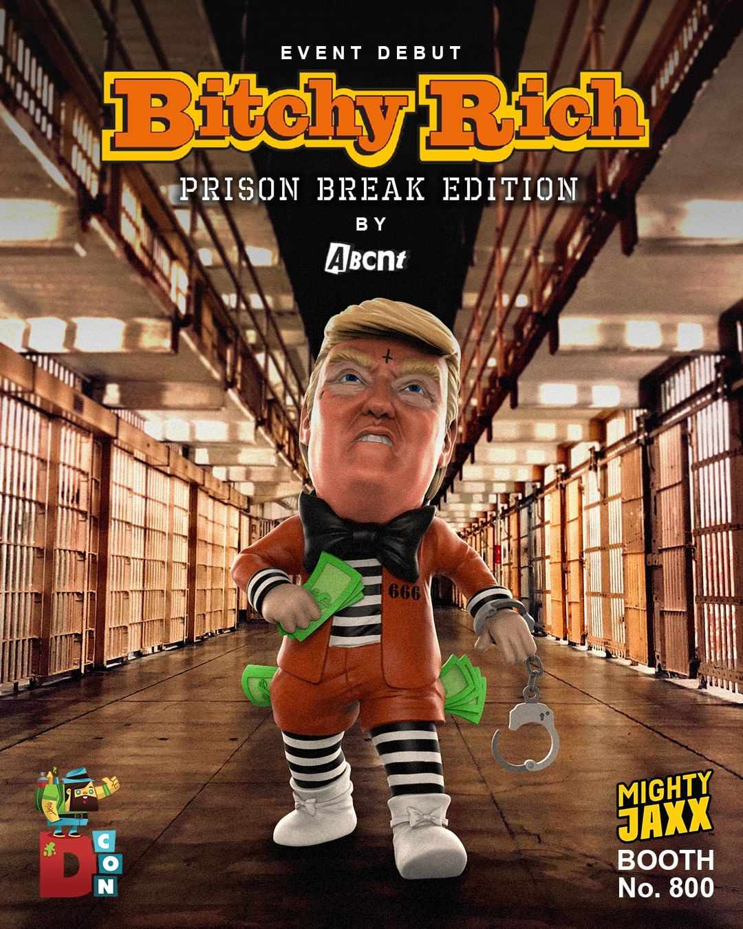 Bitchy Rich Prison Break Edition. ABCNT x Mighty Jaxx. Debuts at DesignerCon 2019.