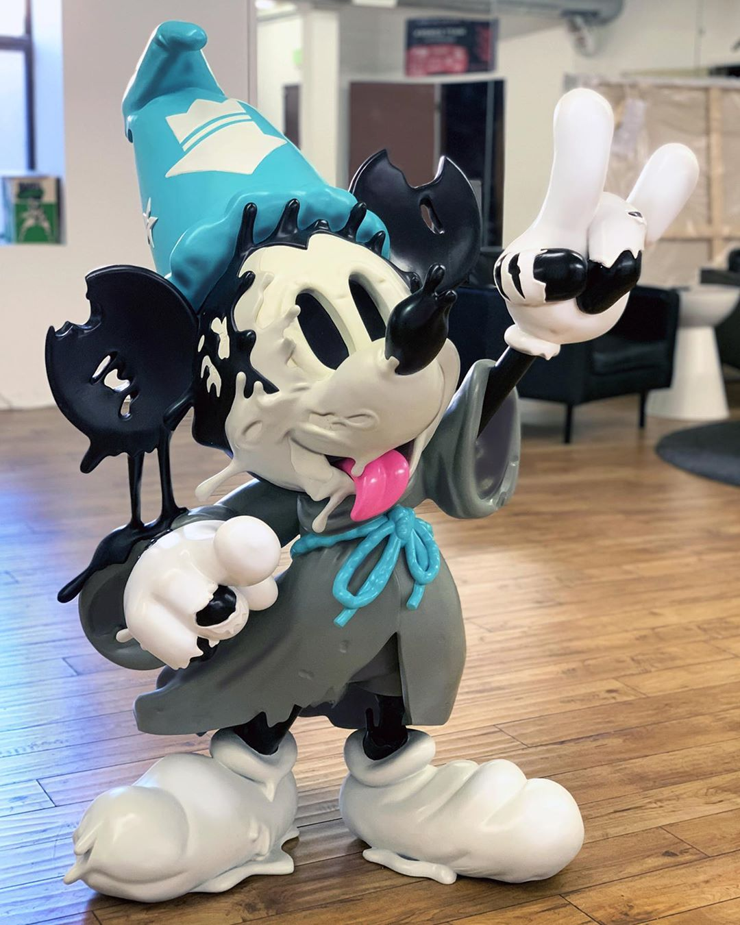 Growing Pains 4-foot sculpture by matt Gondek of the famous wizard mouse.