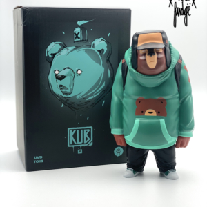 Strangecat Exclusive Kub Teal vinyl art toy from artist Mike Fudge and UVD Toys.